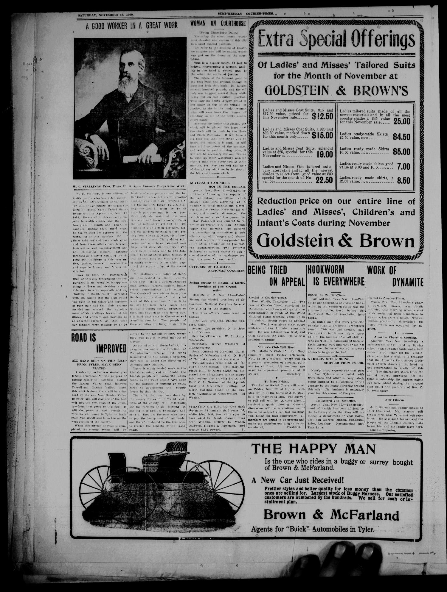 Semi-Weekly Courier-Times. (Tyler, Tex.), Vol. 26, No. 91, Ed. 1 Saturday, November 13, 1909                                                                                                      [Sequence #]: 4 of 8