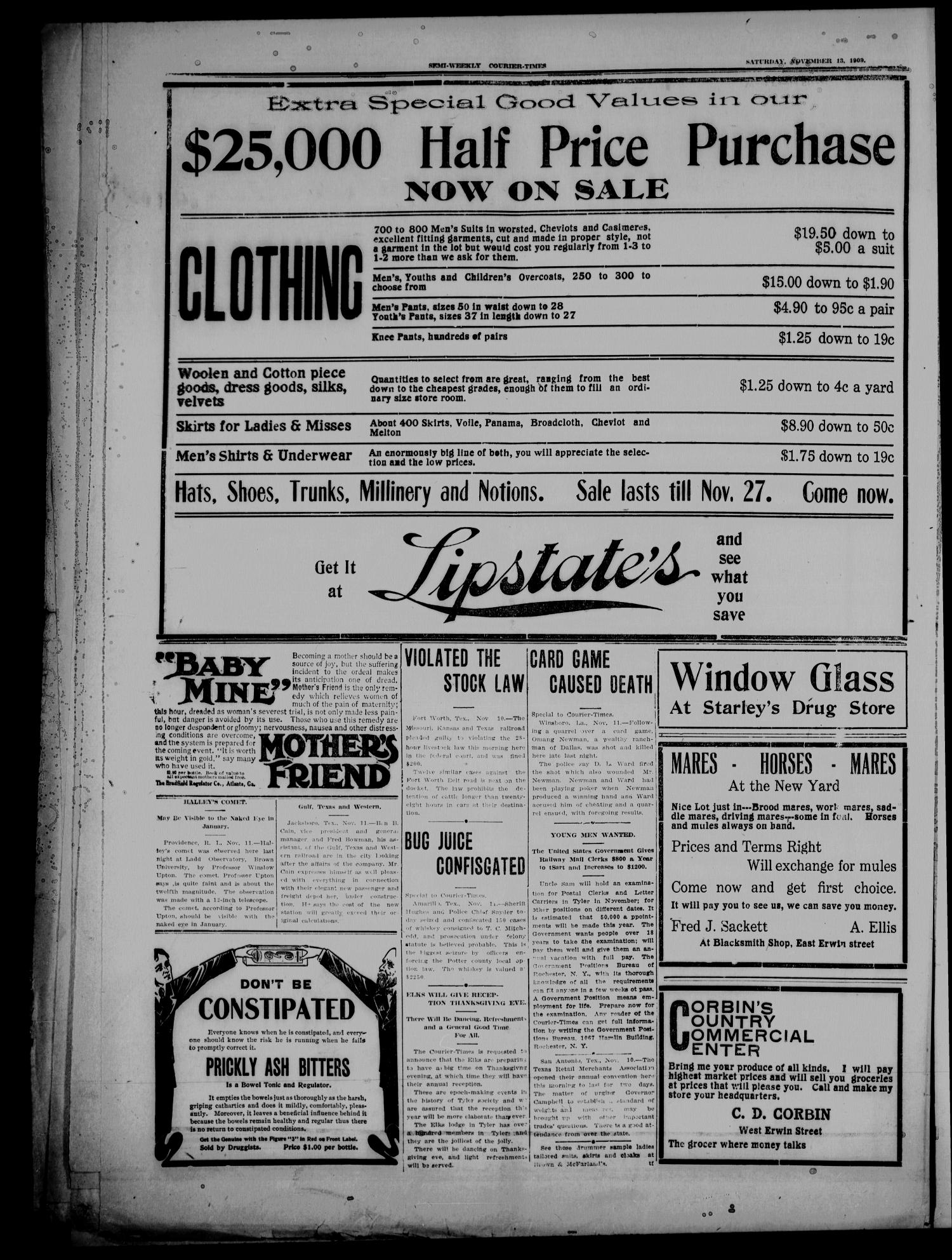 Semi-Weekly Courier-Times. (Tyler, Tex.), Vol. 26, No. 91, Ed. 1 Saturday, November 13, 1909                                                                                                      [Sequence #]: 8 of 8