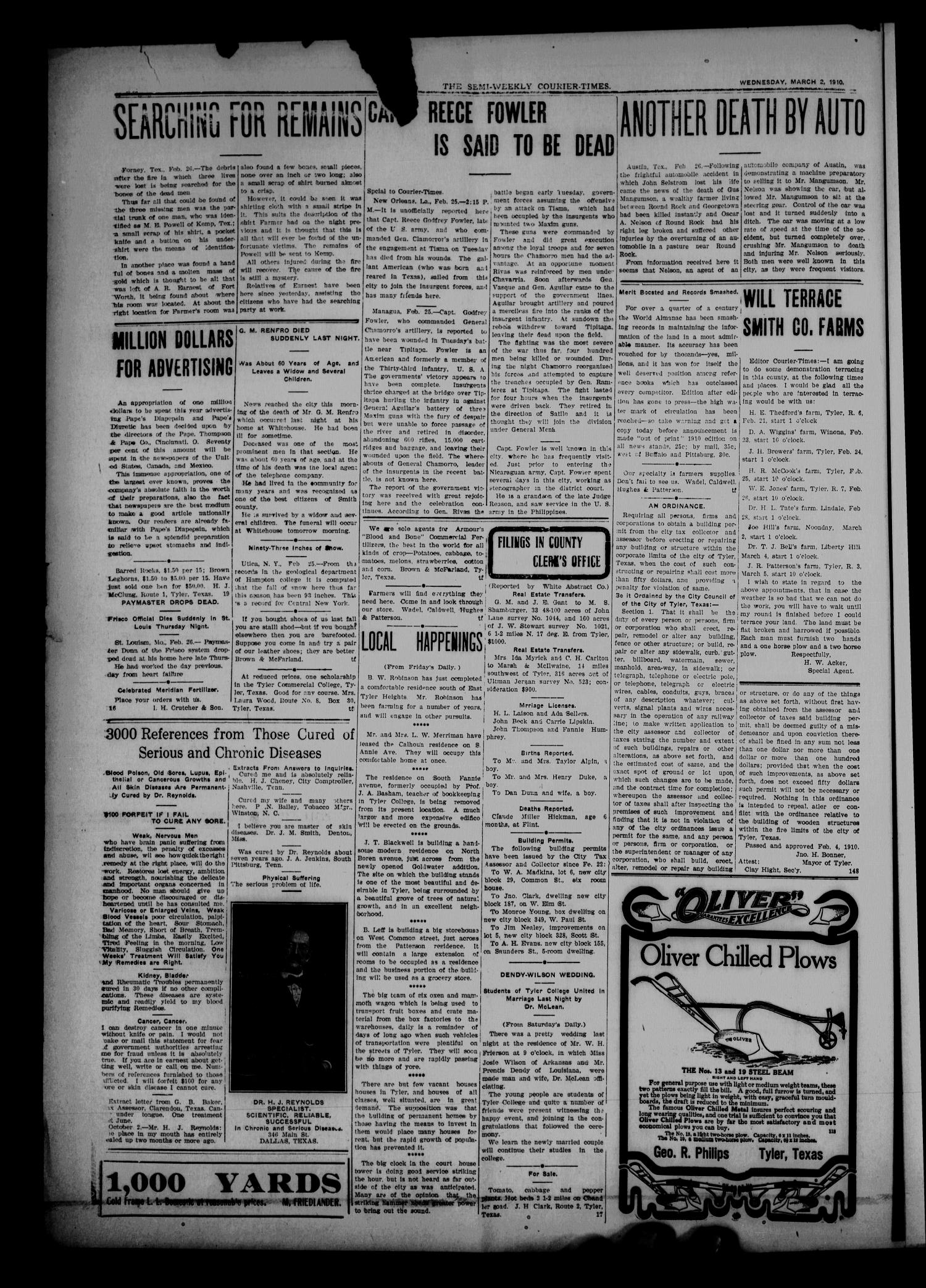 Semi-Weekly Courier-Times. (Tyler, Tex.), Vol. 27, No. 18, Ed. 1 Wednesday, March 2, 1910                                                                                                      [Sequence #]: 2 of 8