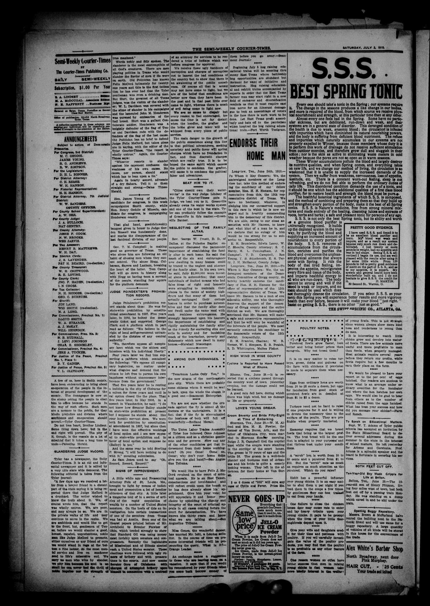 Semi-Weekly Courier-Times. (Tyler, Tex.), Vol. 27, No. 53, Ed. 1 Saturday, July 2, 1910                                                                                                      [Sequence #]: 2 of 8
