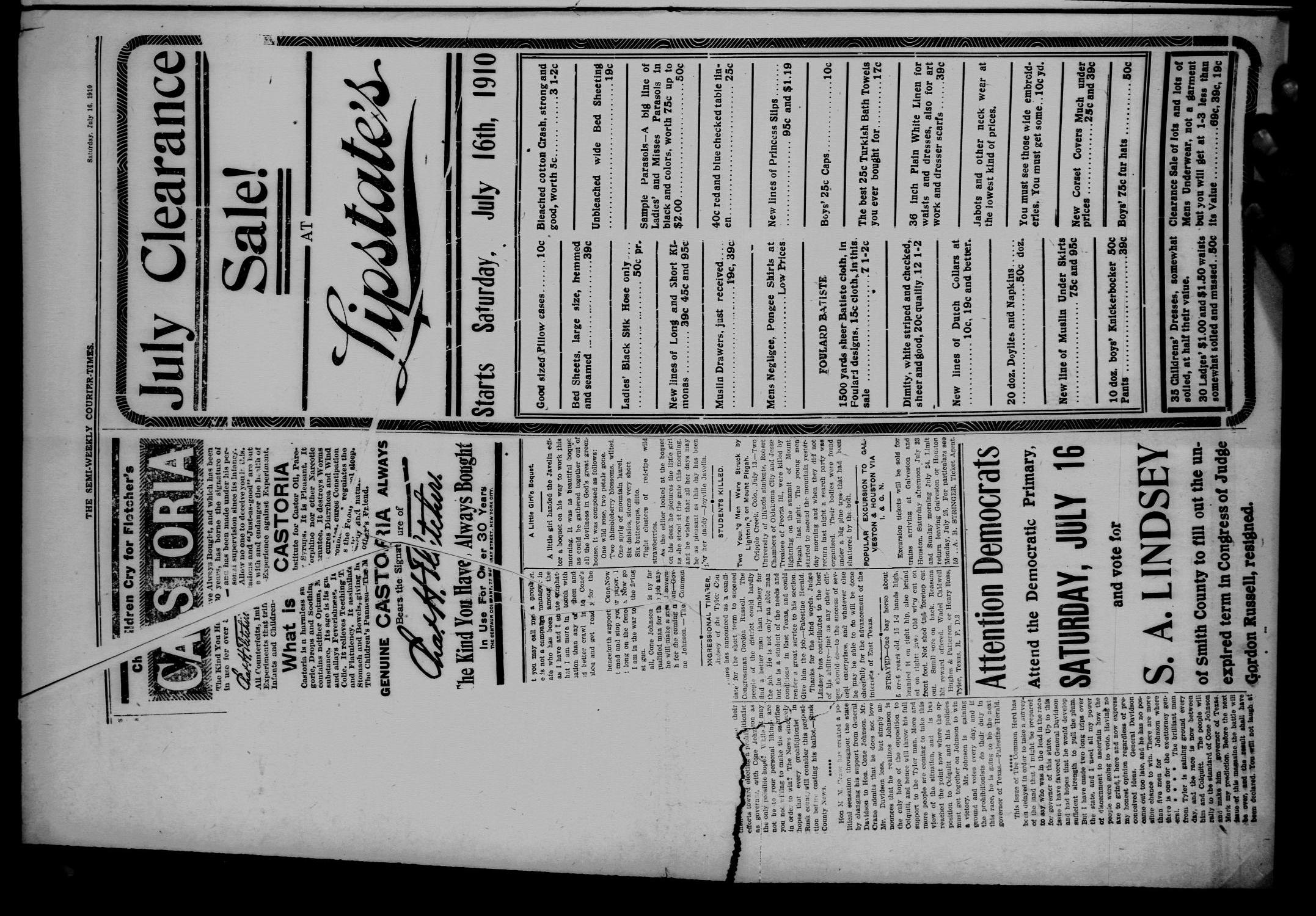 Semi-Weekly Courier-Times. (Tyler, Tex.), Vol. 27, No. 57, Ed. 1 Saturday, July 16, 1910                                                                                                      [Sequence #]: 2 of 12
