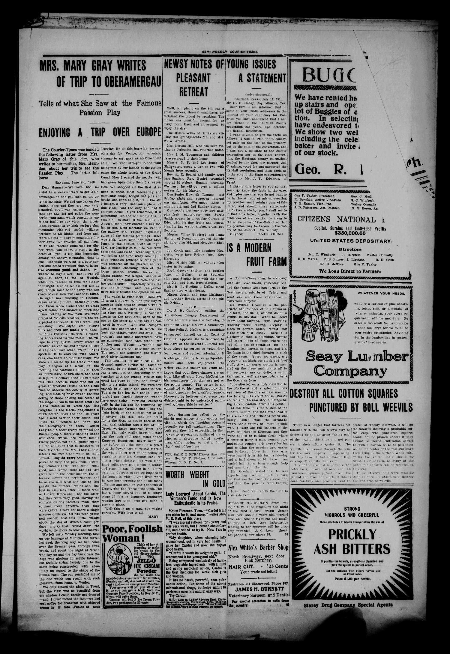 Semi-Weekly Courier-Times. (Tyler, Tex.), Vol. 27, No. 57, Ed. 1 Saturday, July 16, 1910                                                                                                      [Sequence #]: 5 of 12