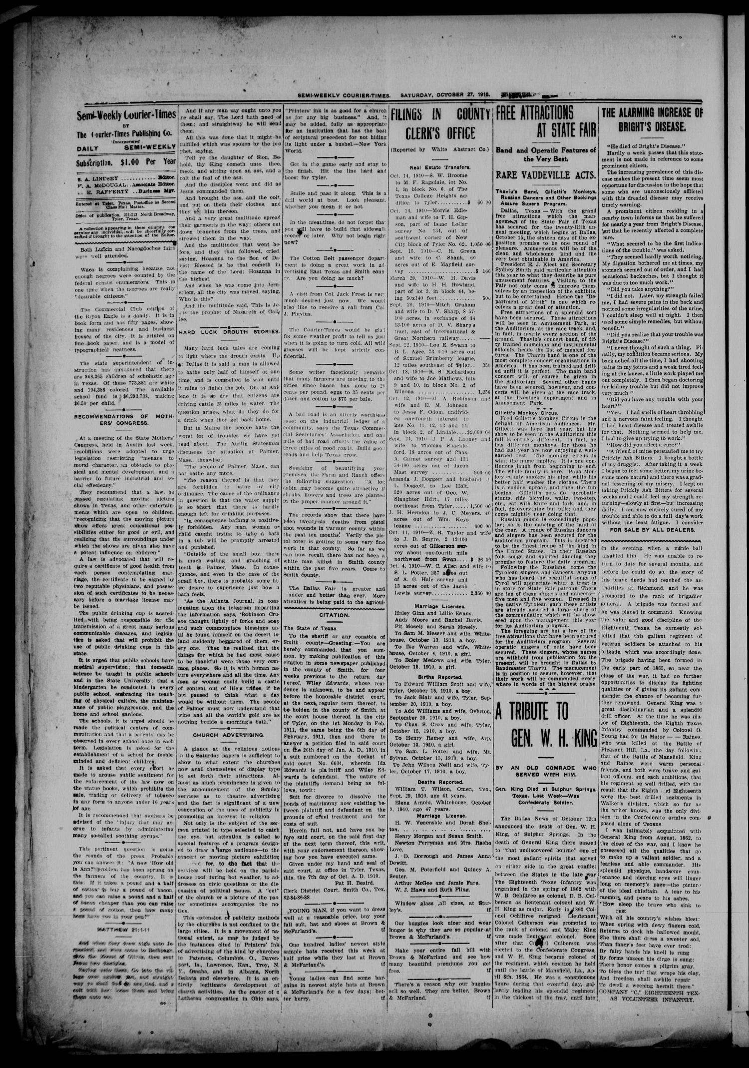 Semi-Weekly Courier-Times. (Tyler, Tex.), Vol. 27, No. 85, Ed. 1 Thursday, October 27, 1910                                                                                                      [Sequence #]: 2 of 8