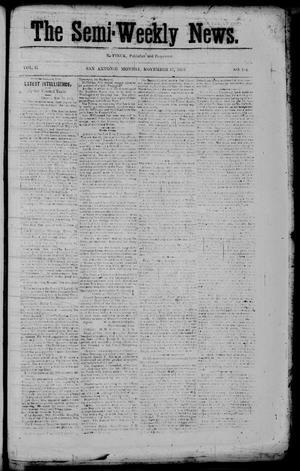 Primary view of The Semi-Weekly News. (San Antonio, Tex.), Vol. 2, No. 104, Ed. 1 Monday, November 17, 1862