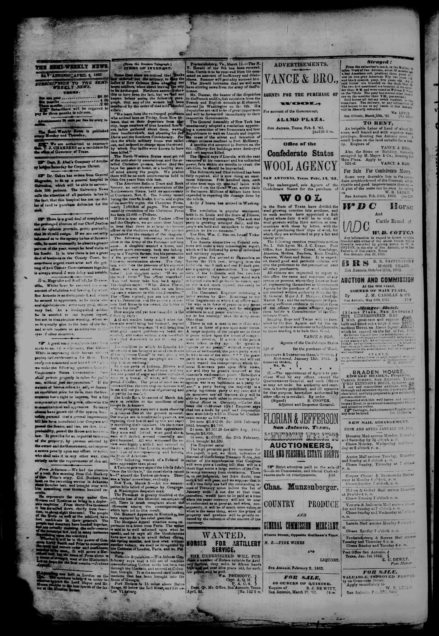 The Semi-Weekly News. (San Antonio, Tex.), Vol. 2, No. 142, Ed. 1 Monday, April 6, 1863                                                                                                      [Sequence #]: 2 of 2