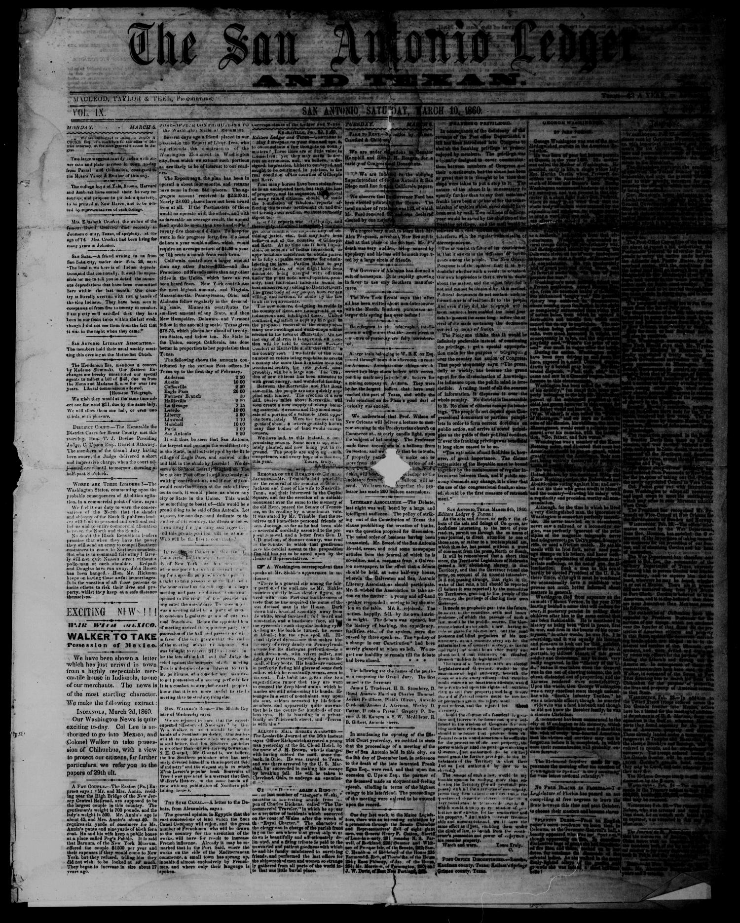 The San Antonio Ledger and Texan. (San Antonio, Tex.), Vol. 9, No. 36, Ed. 1 Saturday, March 10, 1860                                                                                                      [Sequence #]: 1 of 4