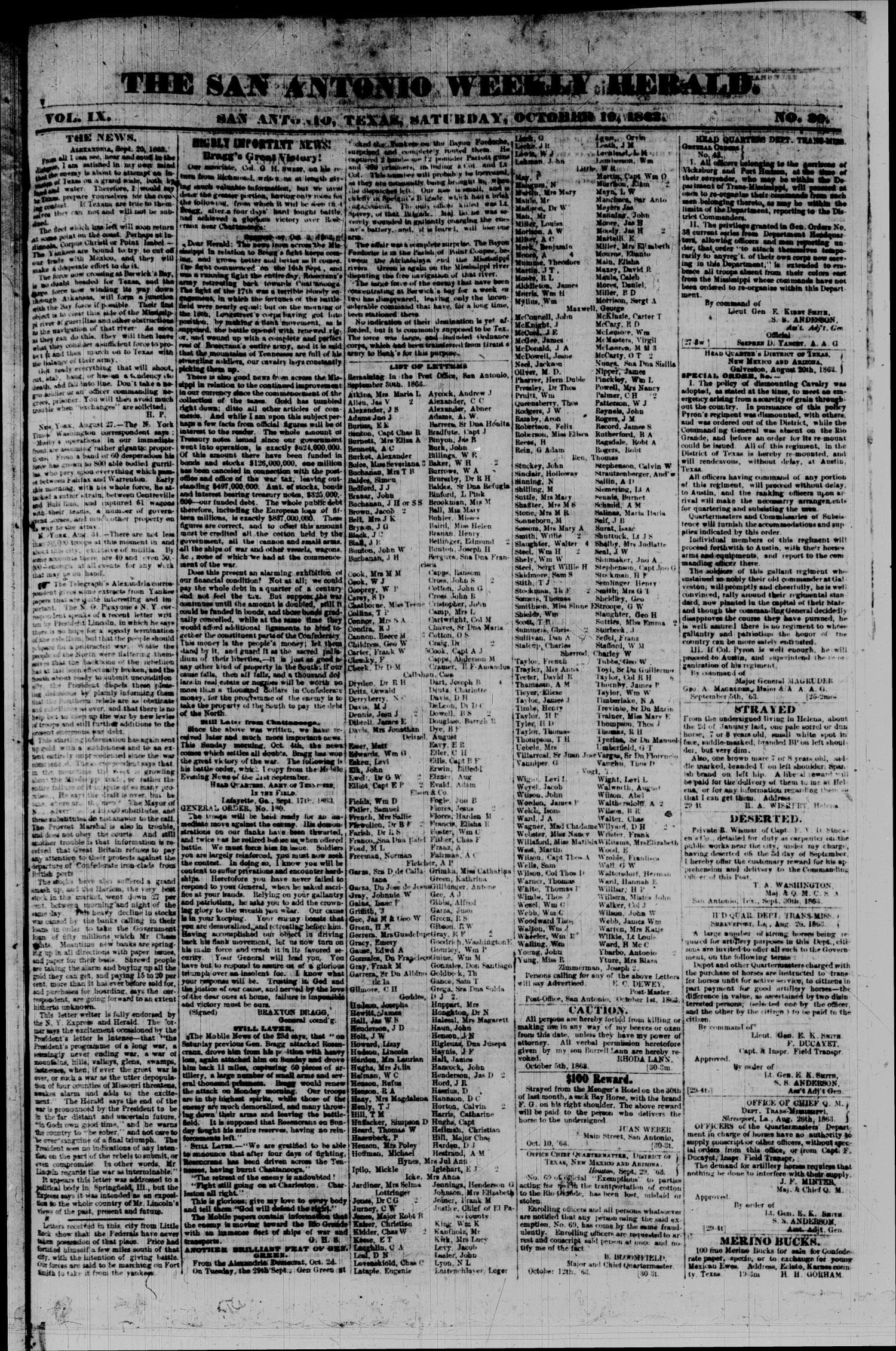 The San Antonio Weekly Herald. (San Antonio, Tex.), Vol. 9, No. 30, Ed. 1 Saturday, October 10, 1863                                                                                                      [Sequence #]: 1 of 2