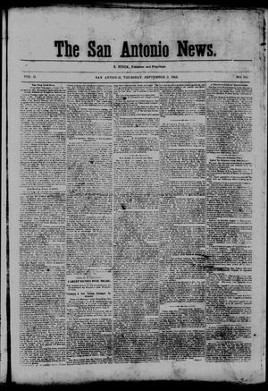 Primary view of object titled 'The San Antonio News. (San Antonio, Tex.), Vol. 2, No. 181, Ed. 1 Thursday, September 3, 1863'.