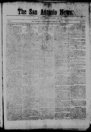 Primary view of object titled 'The San Antonio News. (San Antonio, Tex.), Vol. 2, No. 182, Ed. 1 Thursday, September 10, 1863'.