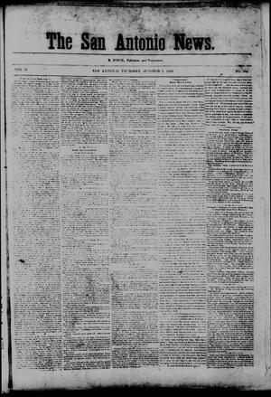 Primary view of object titled 'The San Antonio News. (San Antonio, Tex.), Vol. 2, No. 186, Ed. 1 Thursday, October 8, 1863'.