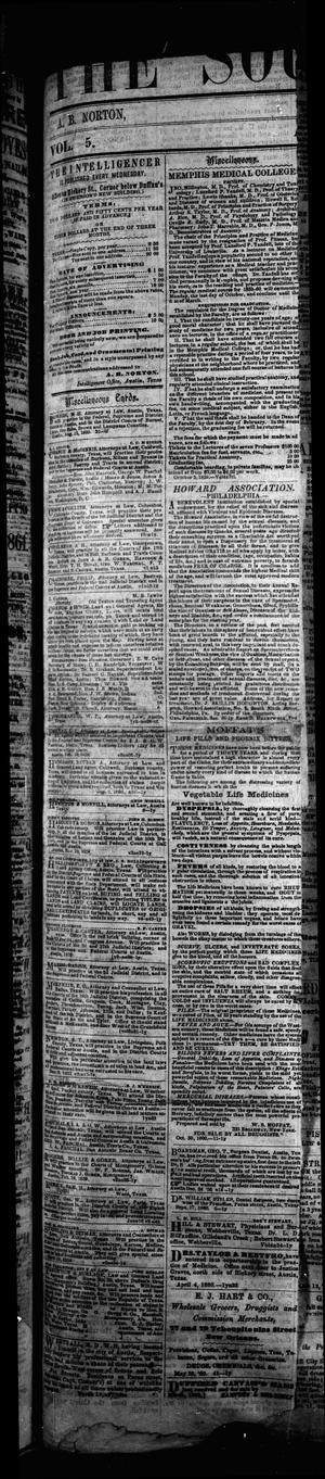 Primary view of The Southern Intelligencer. (Austin City, Tex.), Vol. 5, Ed. 1 Tuesday, January 1, 1861