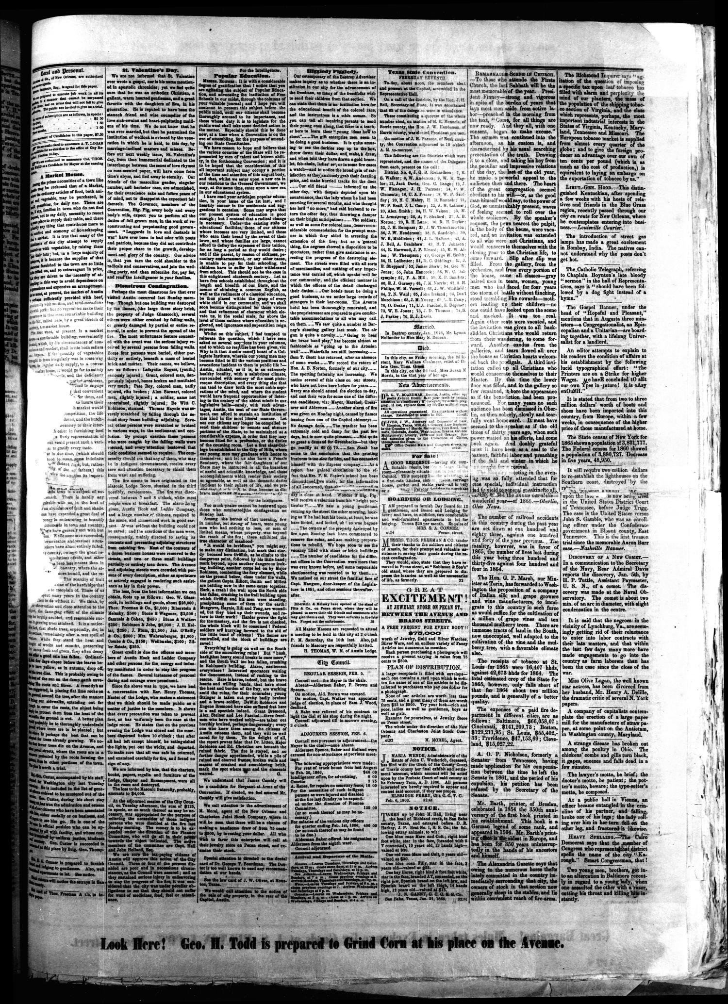 The Southern Intelligencer. (Austin, Tex.), Vol. 1, No. 32, Ed. 1 Thursday, February 8, 1866                                                                                                      [Sequence #]: 3 of 4