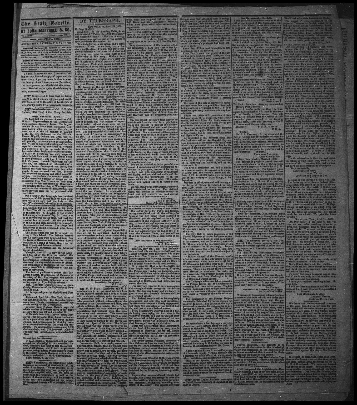 The State Gazette. (Austin City, Tex.), Vol. 13, No. 41, Ed. 1 Saturday, May 17, 1862                                                                                                      [Sequence #]: 1 of 5