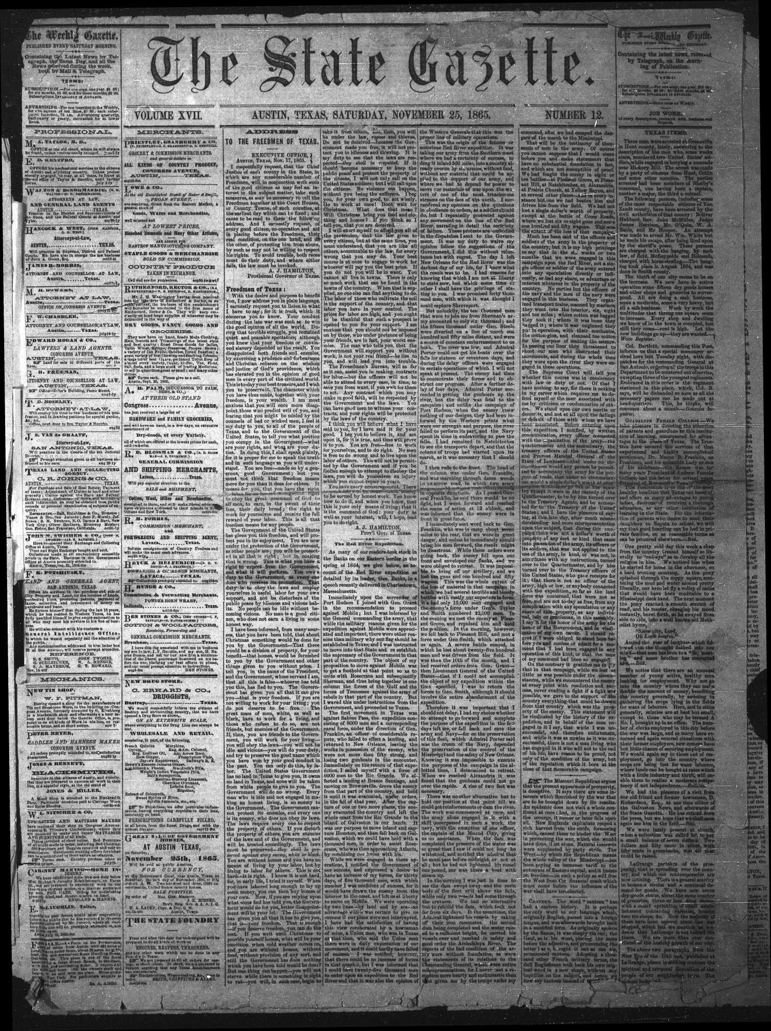 The State Gazette. (Austin, Tex.), Vol. 17, No. 12, Ed. 1 Saturday, November 25, 1865                                                                                                      [Sequence #]: 1 of 4
