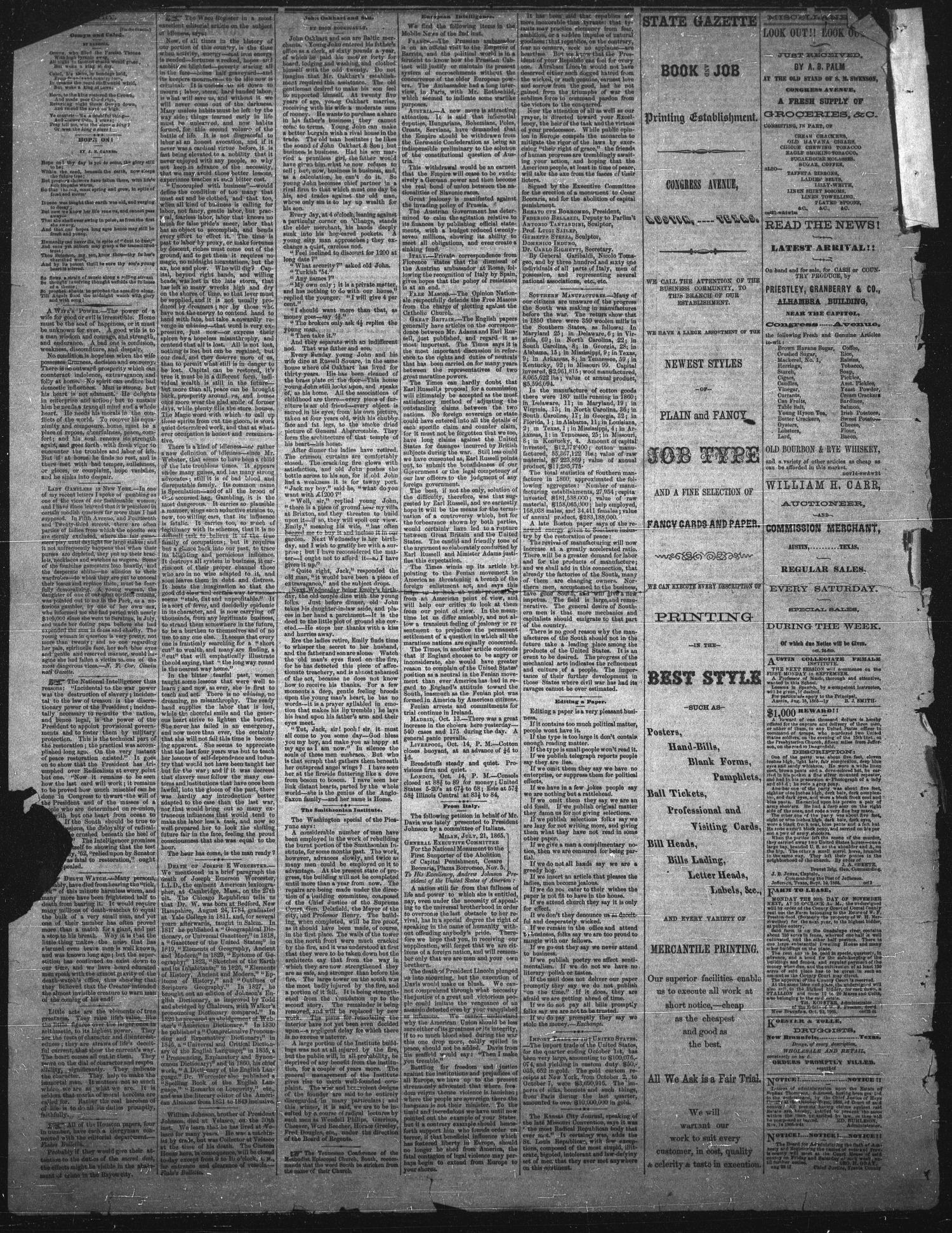 The State Gazette. (Austin, Tex.), Vol. 17, No. 12, Ed. 1 Saturday, November 25, 1865                                                                                                      [Sequence #]: 4 of 4