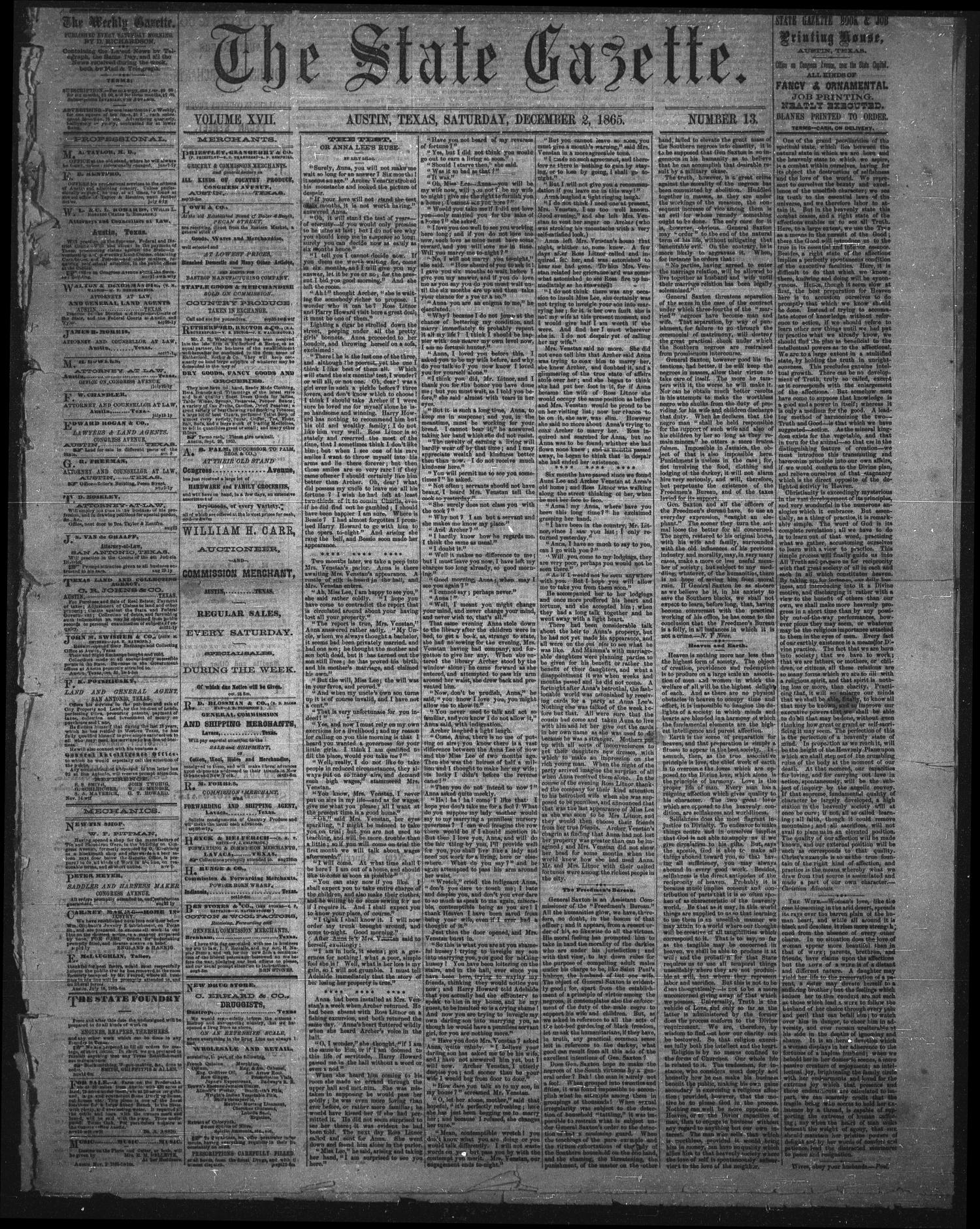 The State Gazette. (Austin, Tex.), Vol. 17, No. 13, Ed. 1 Saturday, December 2, 1865                                                                                                      [Sequence #]: 1 of 4