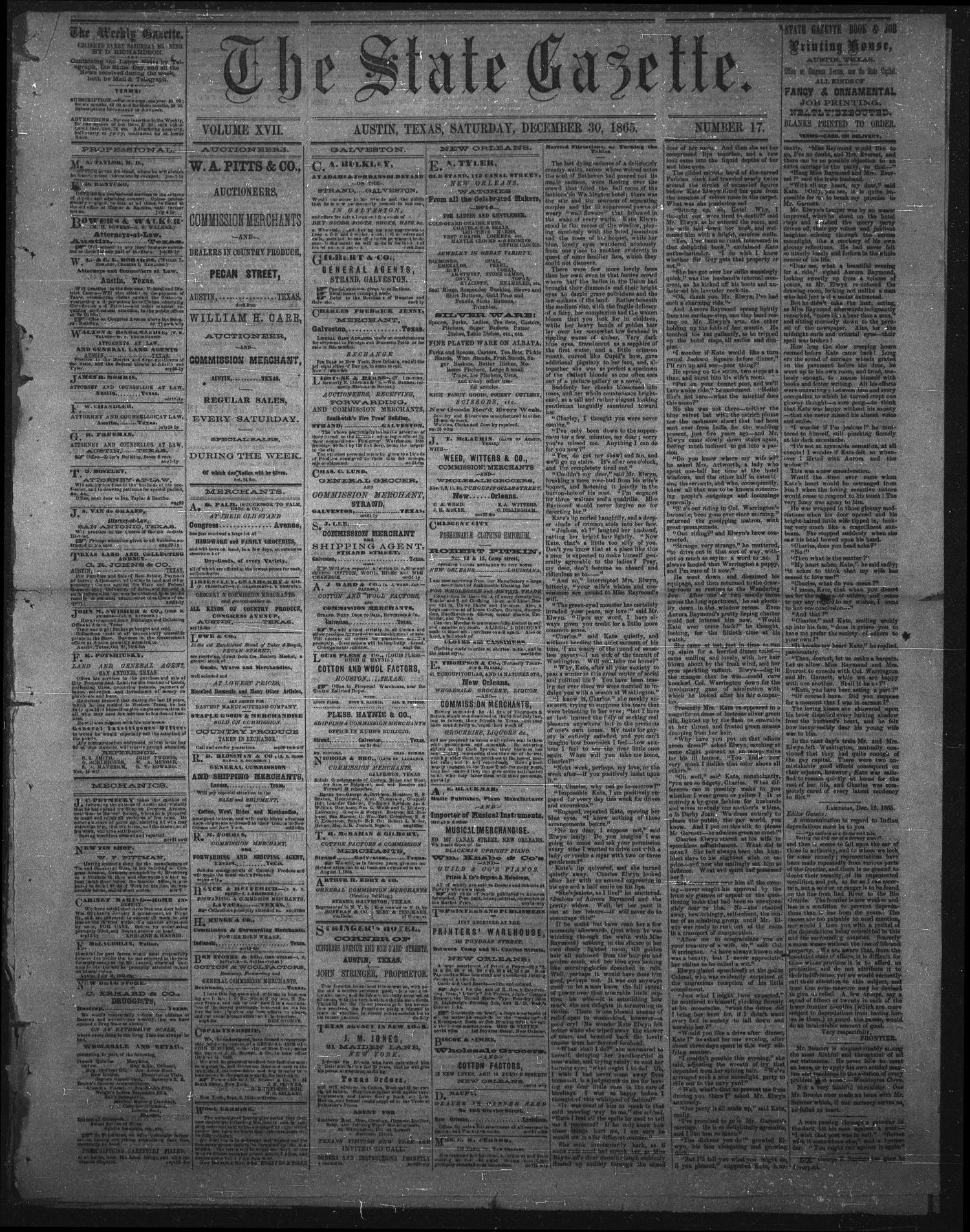 The State Gazette. (Austin, Tex.), Vol. 17, No. 17, Ed. 1 Saturday, December 30, 1865                                                                                                      [Sequence #]: 1 of 3