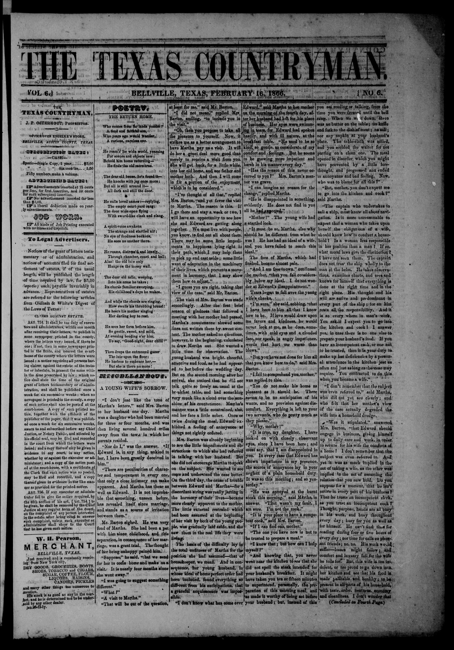The Texas Countryman. (Bellville, Tex.), Vol. 6, No. 6, Ed. 1 Friday, February 16, 1866                                                                                                      [Sequence #]: 1 of 4