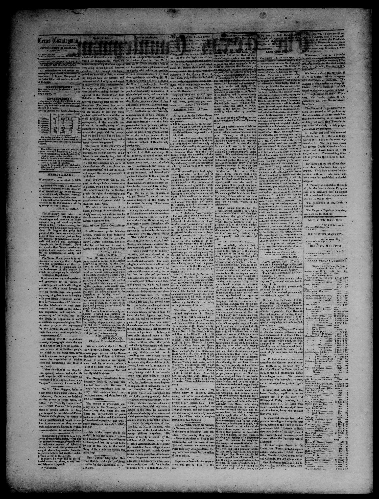 The Texas Countryman. (Hempstead, Tex.), Vol. 8, No. 1, Ed. 1 Wednesday, May 6, 1868                                                                                                      [Sequence #]: 2 of 4