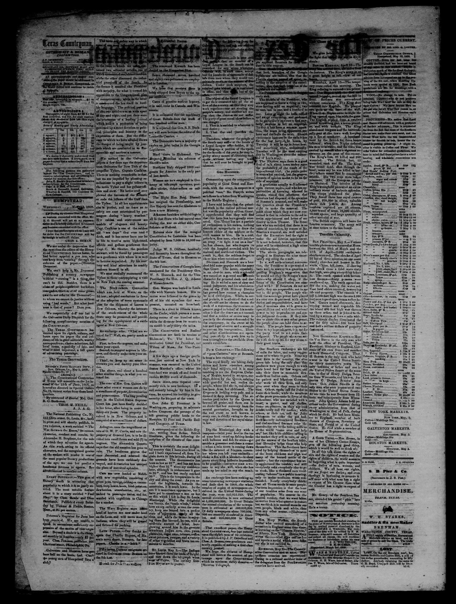 The Texas Countryman. (Hempstead, Tex.), Vol. 8, No. 2, Ed. 1 Wednesday, May 13, 1868                                                                                                      [Sequence #]: 2 of 4