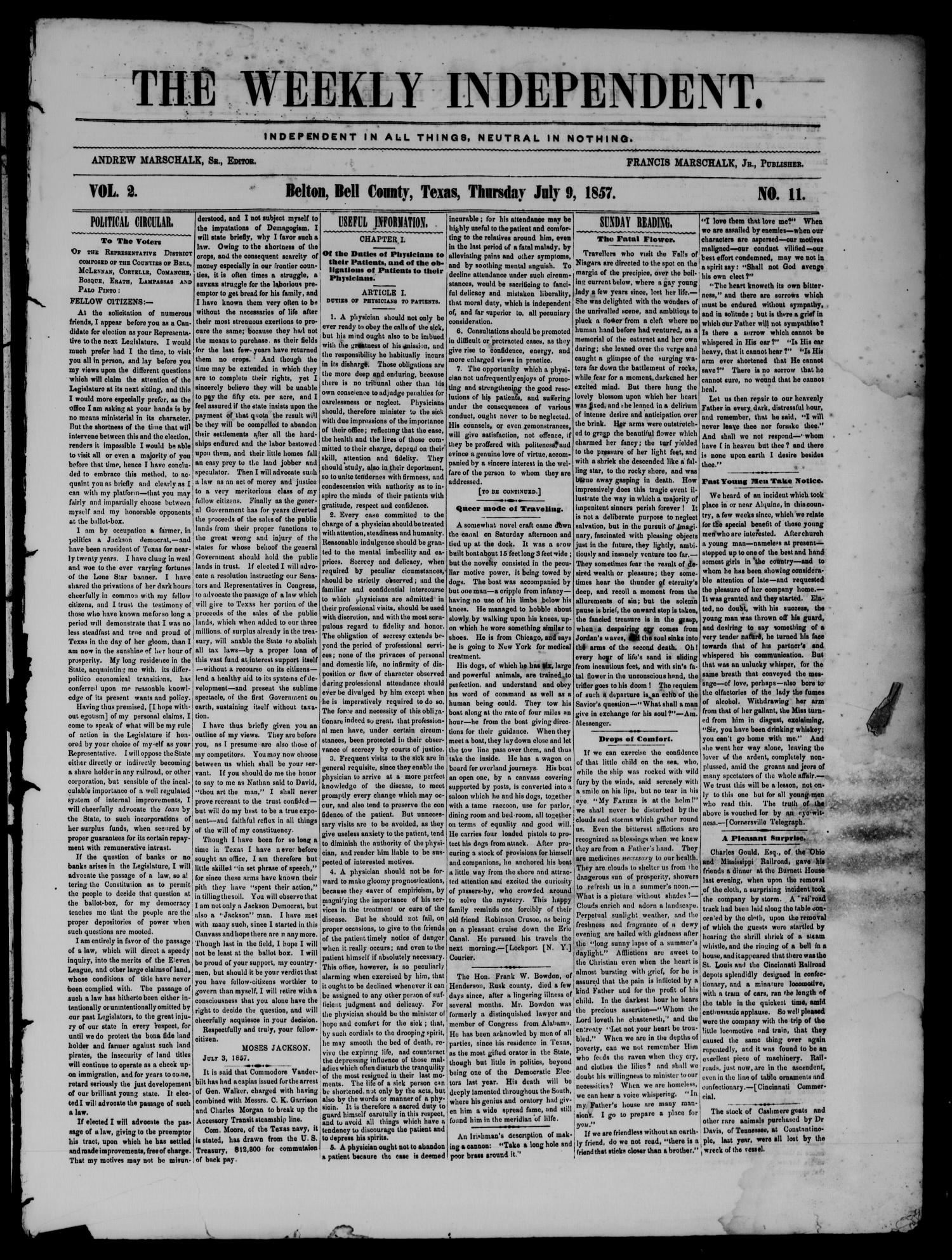 The Weekly Independent. (Belton, Tex.), Vol. 2, No. 11, Ed. 1 Thursday, July 9, 1857                                                                                                      [Sequence #]: 1 of 4