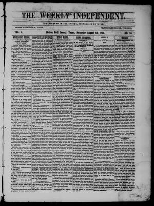 The Weekly Independent. (Belton, Tex.), Vol. 2, No. 16, Ed. 1 Saturday, August 15, 1857
