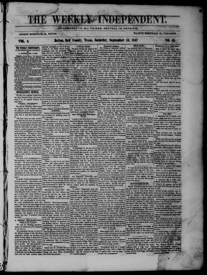 The Weekly Independent. (Belton, Tex.), Vol. 2, No. 20, Ed. 1 Saturday, September 12, 1857