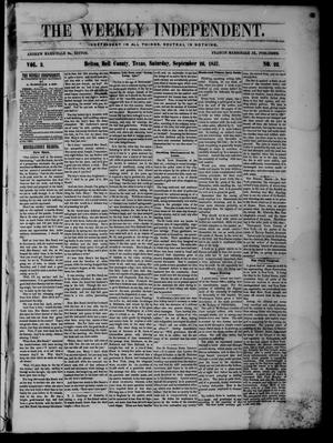 Primary view of object titled 'The Weekly Independent. (Belton, Tex.), Vol. 2, No. 22, Ed. 1 Saturday, September 26, 1857'.