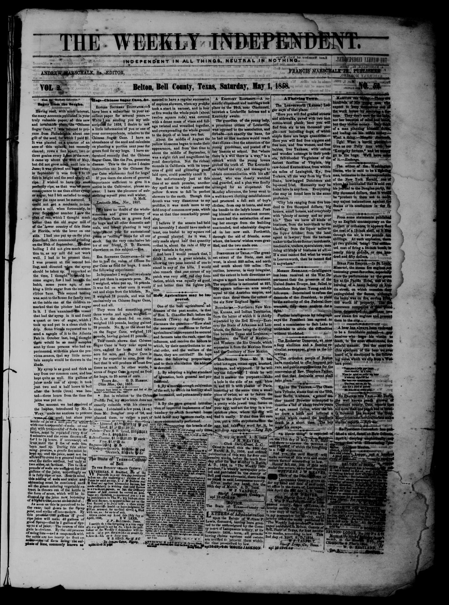 The Weekly Independent. (Belton, Tex.), Vol. 2, No. 52, Ed. 1 Saturday, May 1, 1858                                                                                                      [Sequence #]: 1 of 4