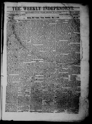 Primary view of The Weekly Independent. (Belton, Tex.), Vol. 2, No. 52, Ed. 1 Saturday, May 1, 1858
