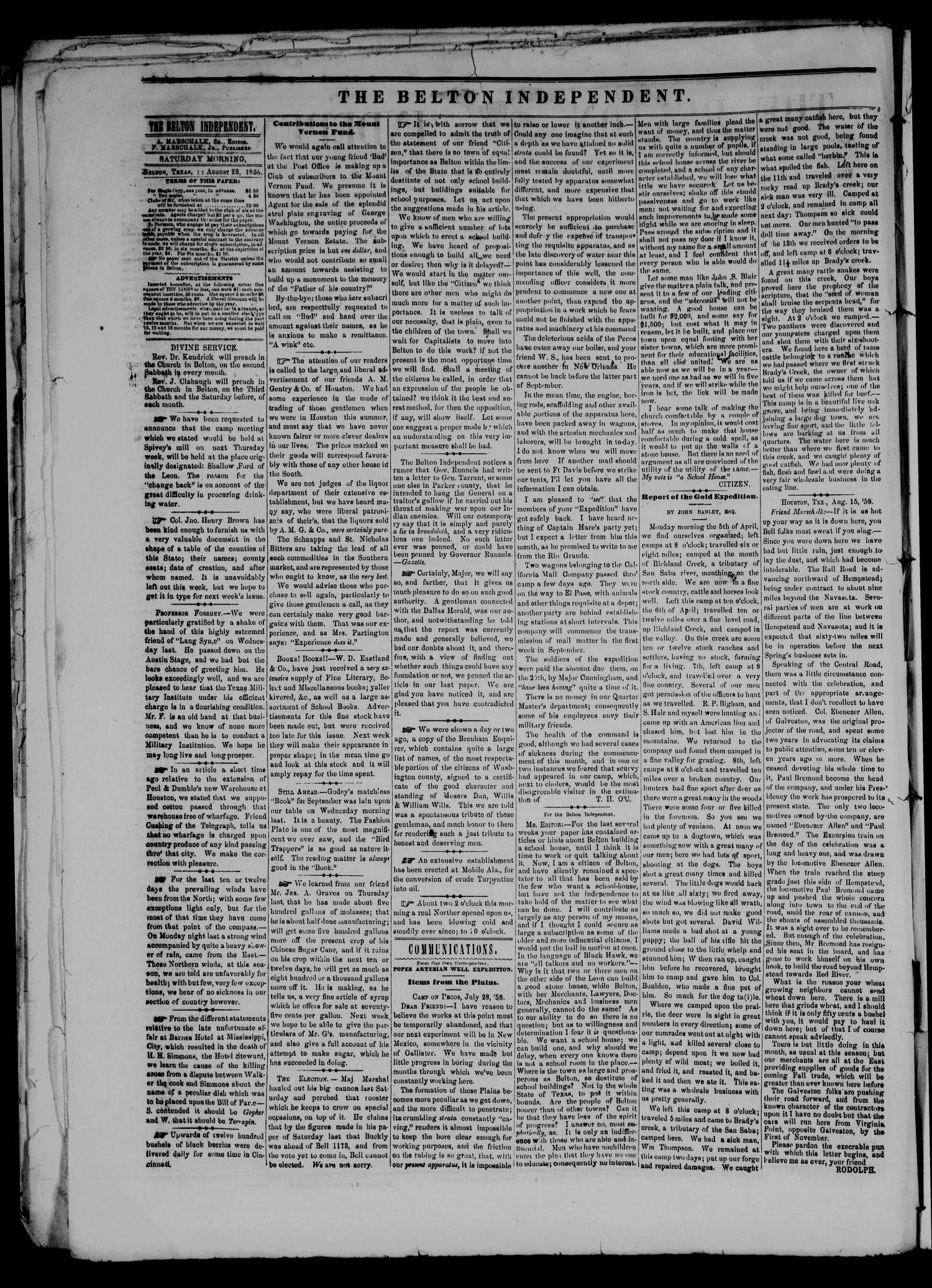 The Belton Independent. (Belton, Tex.), Vol. 3, No. 17, Ed. 1 Saturday, August 28, 1858                                                                                                      [Sequence #]: 2 of 4