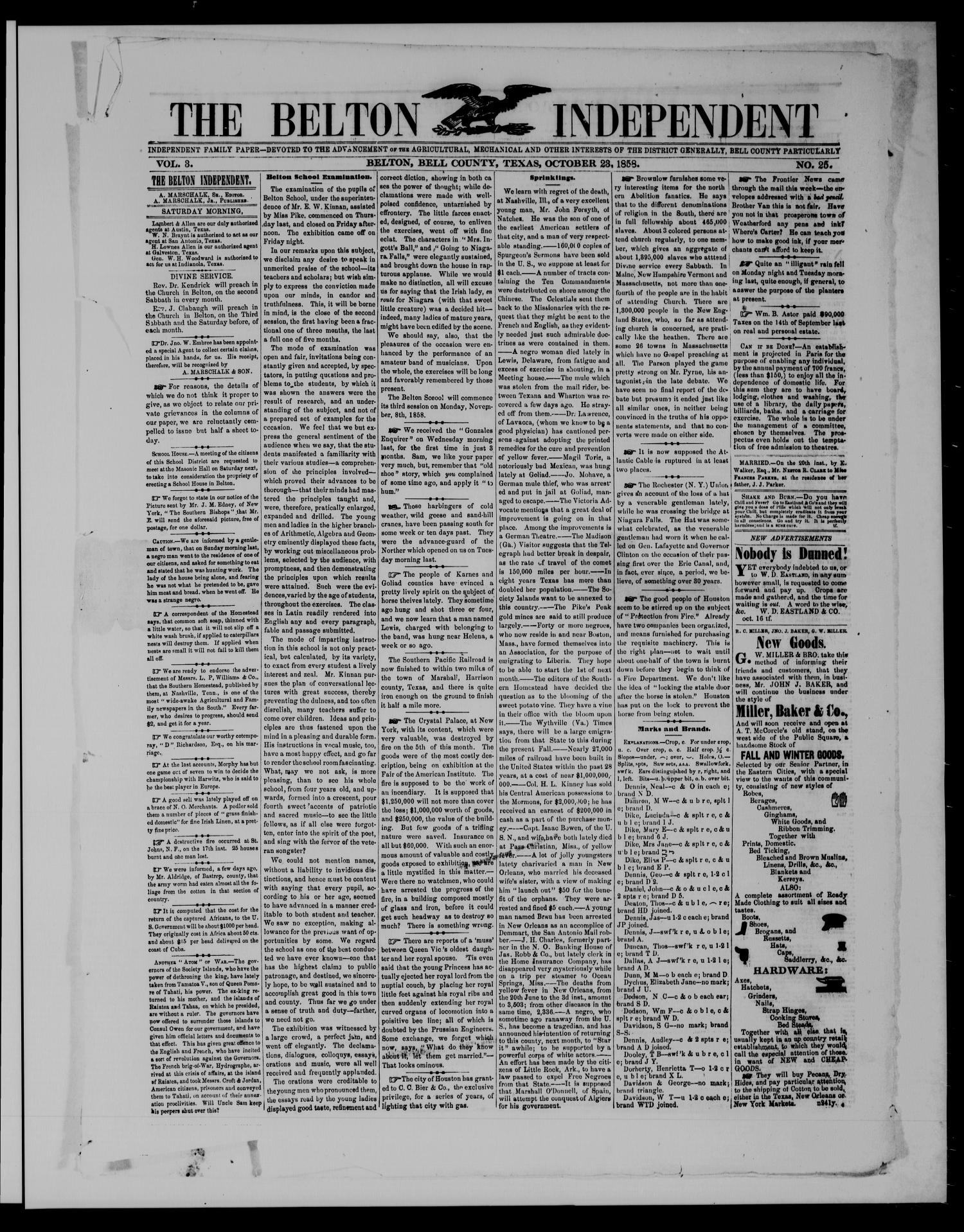 The Belton Independent. (Belton, Tex.), Vol. 3, No. 25, Ed. 1 Saturday, October 23, 1858                                                                                                      [Sequence #]: 1 of 4