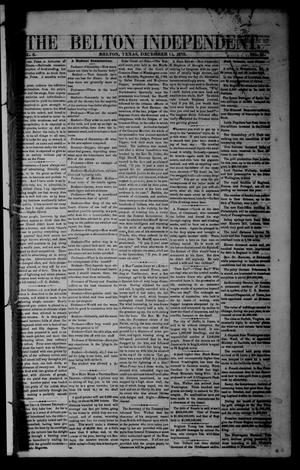 Primary view of object titled 'The Belton Independent. (Belton, Tex.), Vol. 3, No. 31, Ed. 1 Saturday, December 11, 1858'.