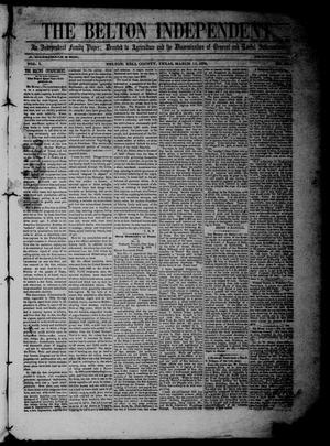 Primary view of object titled 'The Belton Independent. (Belton, Tex.), Vol. 3, No. 35, Ed. 1 Saturday, March 12, 1859'.
