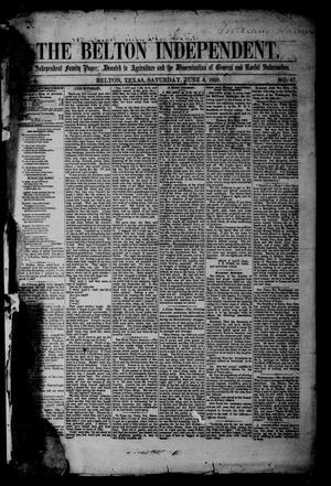 Primary view of object titled 'The Belton Independent. (Belton, Tex.), Vol. 3, No. 47, Ed. 1 Saturday, June 4, 1859'.