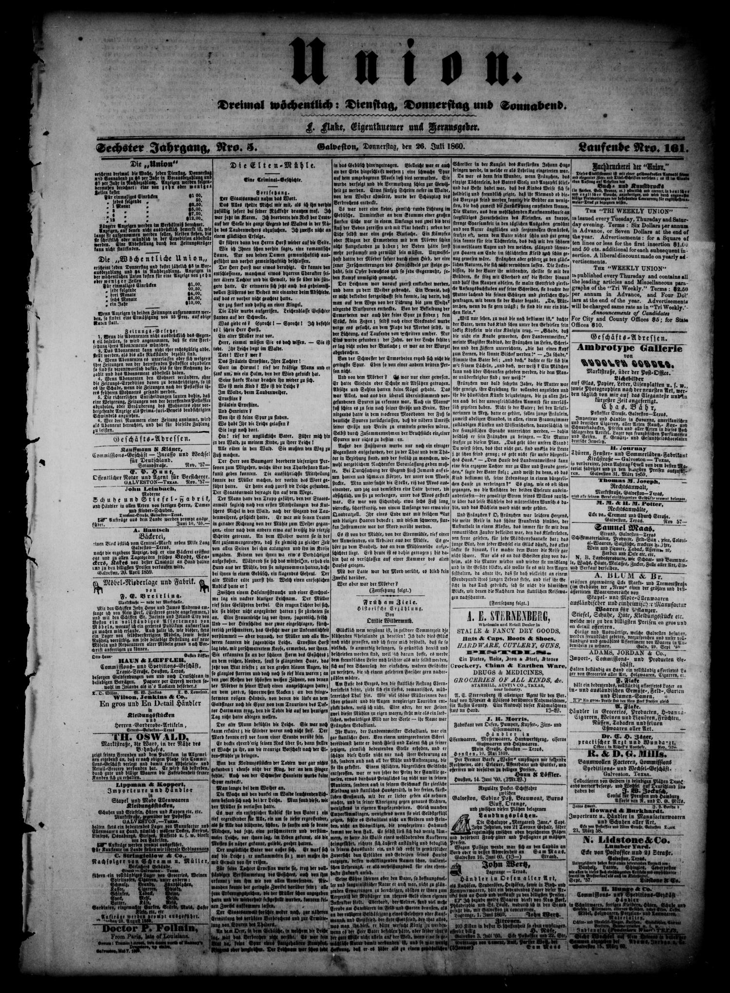Union (Galveston, Tex.), Vol. 6, No. 5, Ed. 1 Thursday, July 26, 1860                                                                                                      [Sequence #]: 1 of 4