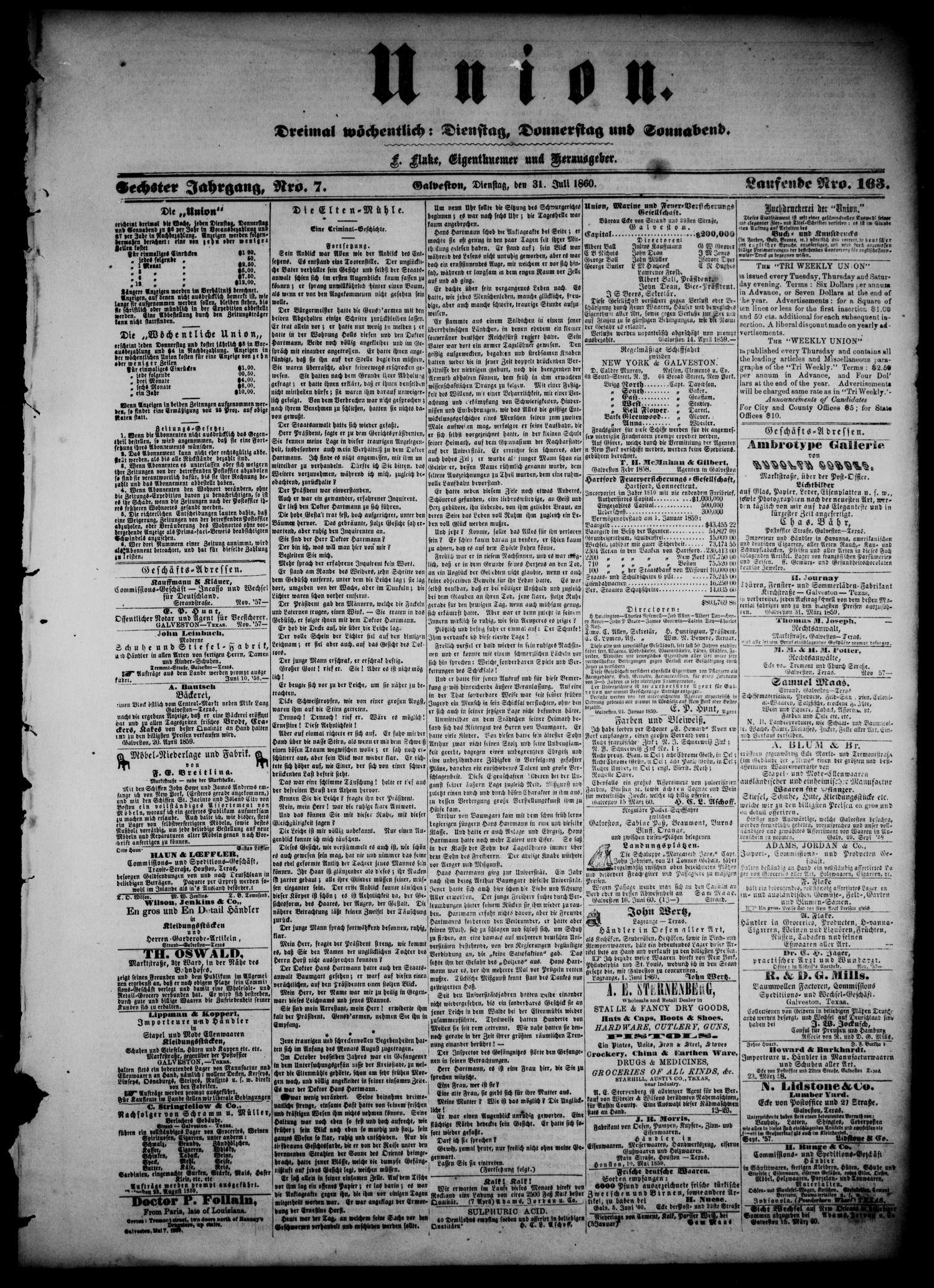 Union (Galveston, Tex.), Vol. 6, No. 7, Ed. 1 Tuesday, July 31, 1860                                                                                                      [Sequence #]: 1 of 4