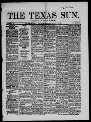 Primary view of object titled 'The Texas Sun. (Richmond, Tex.), Vol. 2, No. 16, Ed. 1 Saturday, April 26, 1856'.