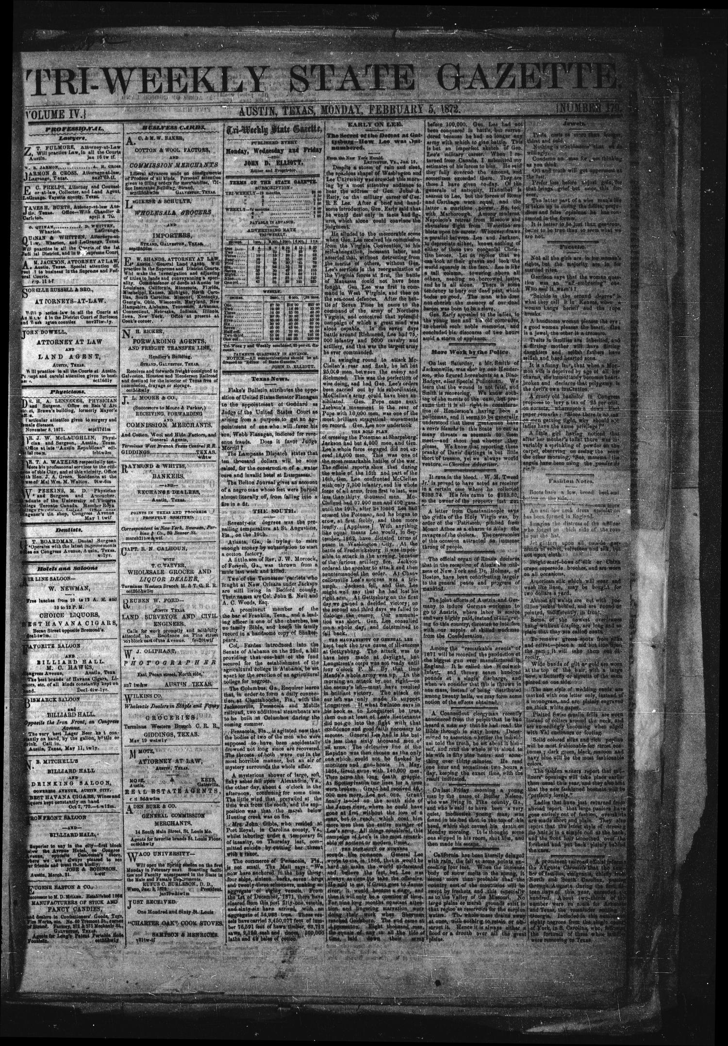 Tri-Weekly State Gazette. (Austin, Tex.), Vol. 4, No. 179, Ed. 1 Monday, February 5, 1872                                                                                                      [Sequence #]: 1 of 4