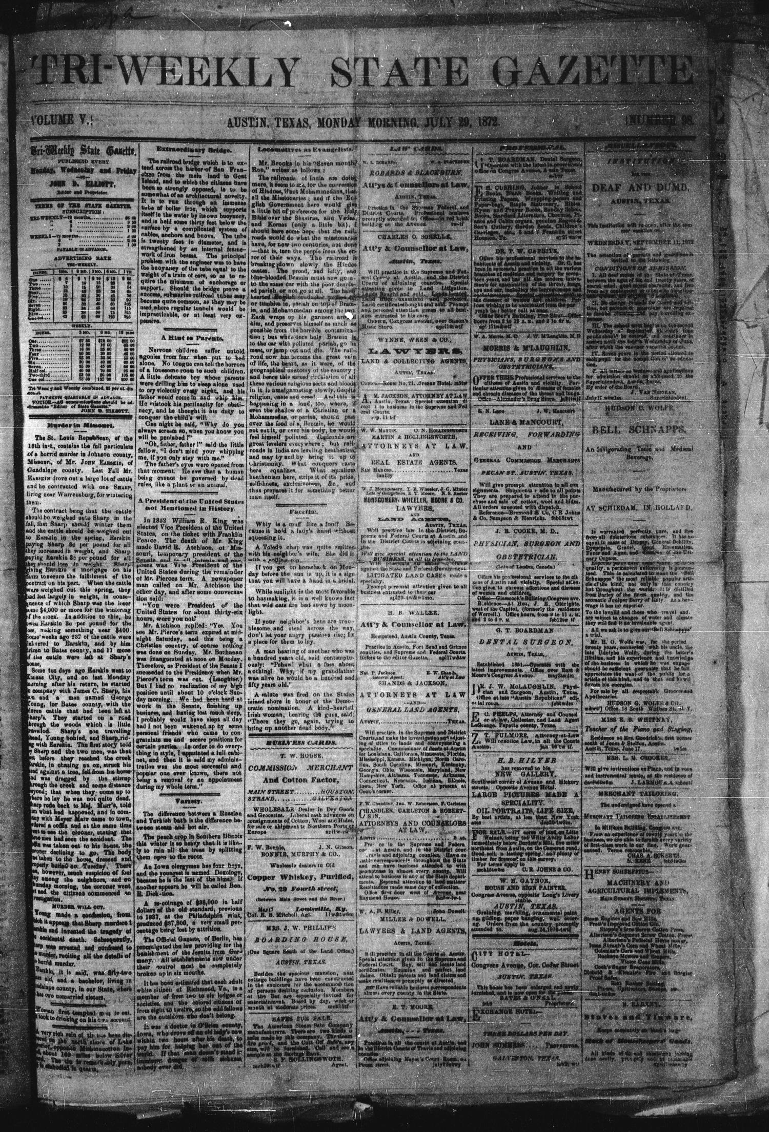 Tri-Weekly State Gazette. (Austin, Tex.), Vol. 5, No. 98, Ed. 1 Monday, July 29, 1872                                                                                                      [Sequence #]: 1 of 4