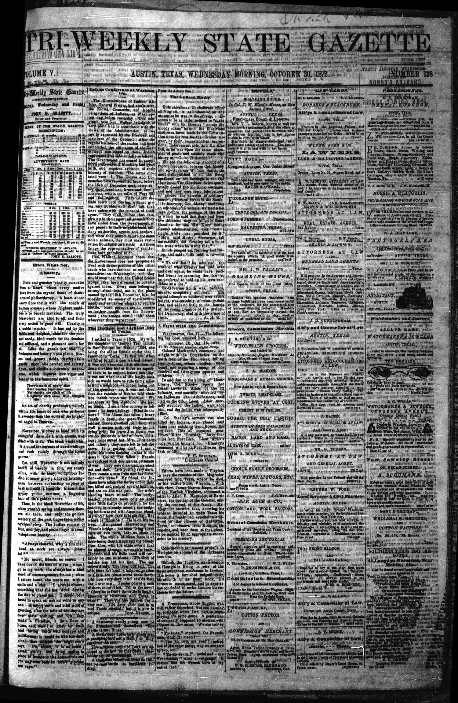 Tri-Weekly State Gazette. (Austin, Tex.), Vol. 5, No. 138, Ed. 1 Wednesday, October 30, 1872                                                                                                      [Sequence #]: 1 of 4