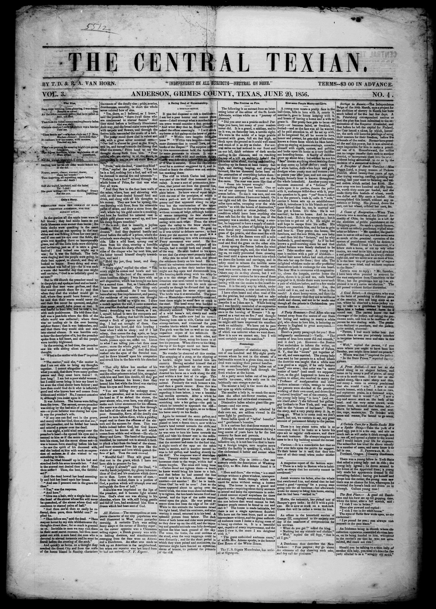 The Central Texian. (Anderson, Tex.), Vol. 3, No. 4, Ed. 1 Friday, June 20, 1856                                                                                                      [Sequence #]: 1 of 4