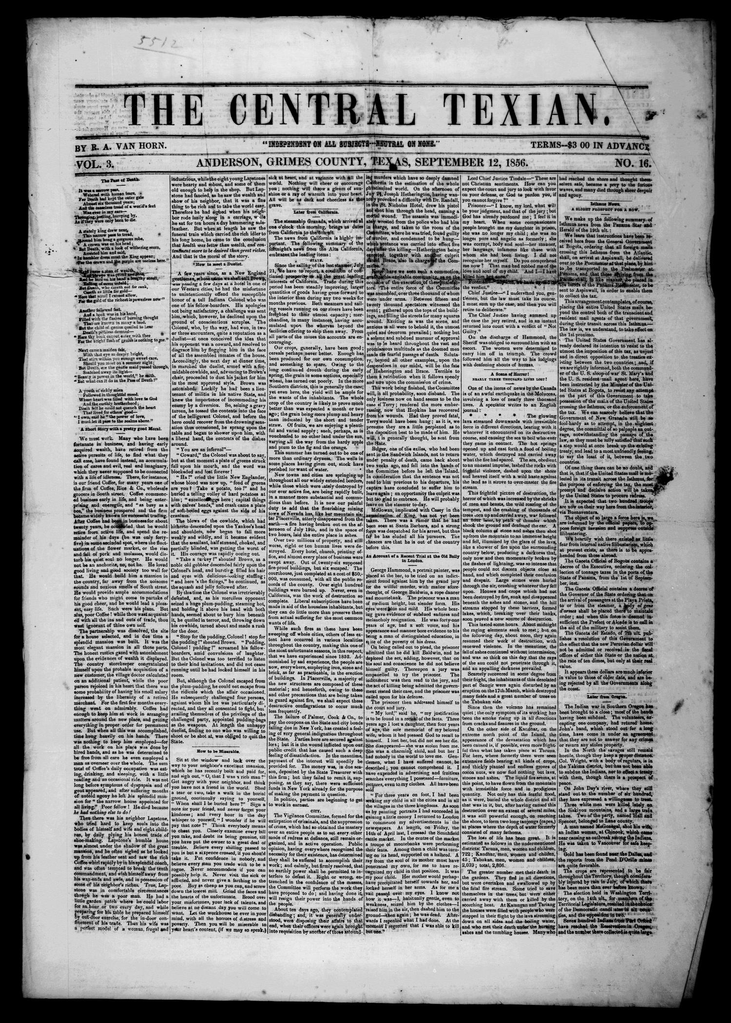 The Central Texian. (Anderson, Tex.), Vol. 3, No. 16, Ed. 1 Friday, September 12, 1856                                                                                                      [Sequence #]: 1 of 4