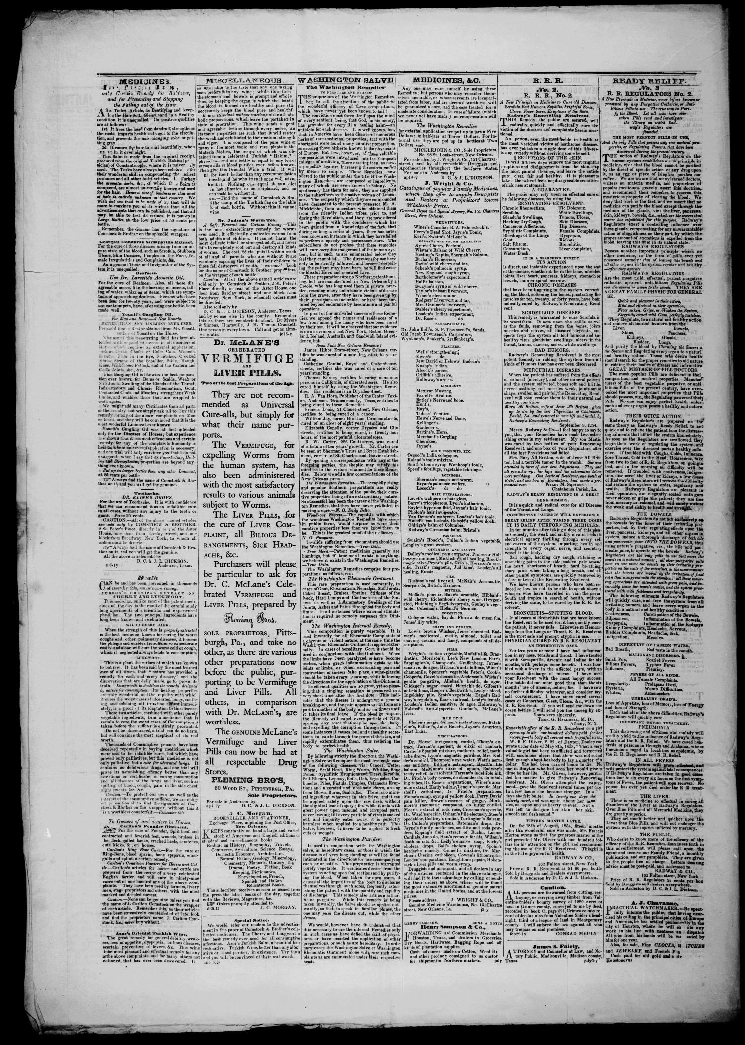 The Central Texian  (Anderson, Tex ), Vol  3, No  29, Ed  1