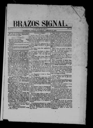 Primary view of object titled 'Brazos Signal (Richmond, Tex.), Vol. 3, No. 38, Ed. 1 Saturday, August 27, 1870'.