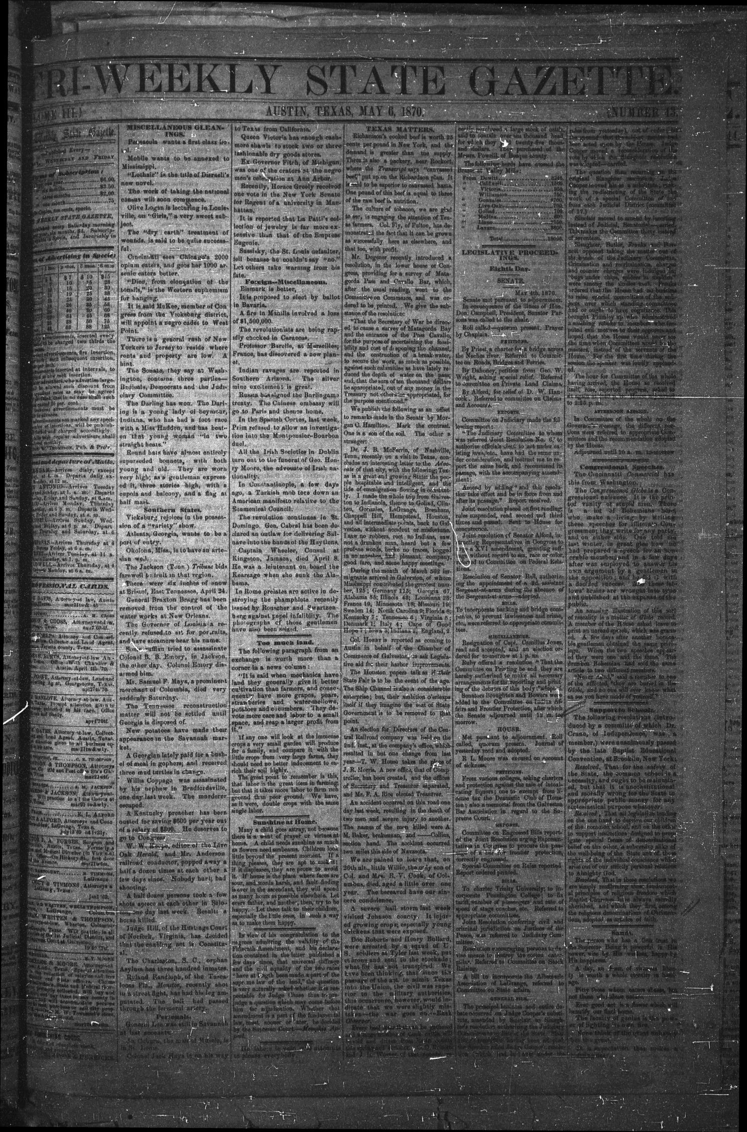 Tri-Weekly State Gazette. (Austin, Tex.), Vol. 3, No. 43, Ed. 1 Friday, May 6, 1870                                                                                                      [Sequence #]: 1 of 4