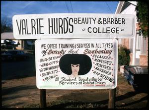 Primary view of object titled '[Hurd's Barber and Beauty College Sign]'.