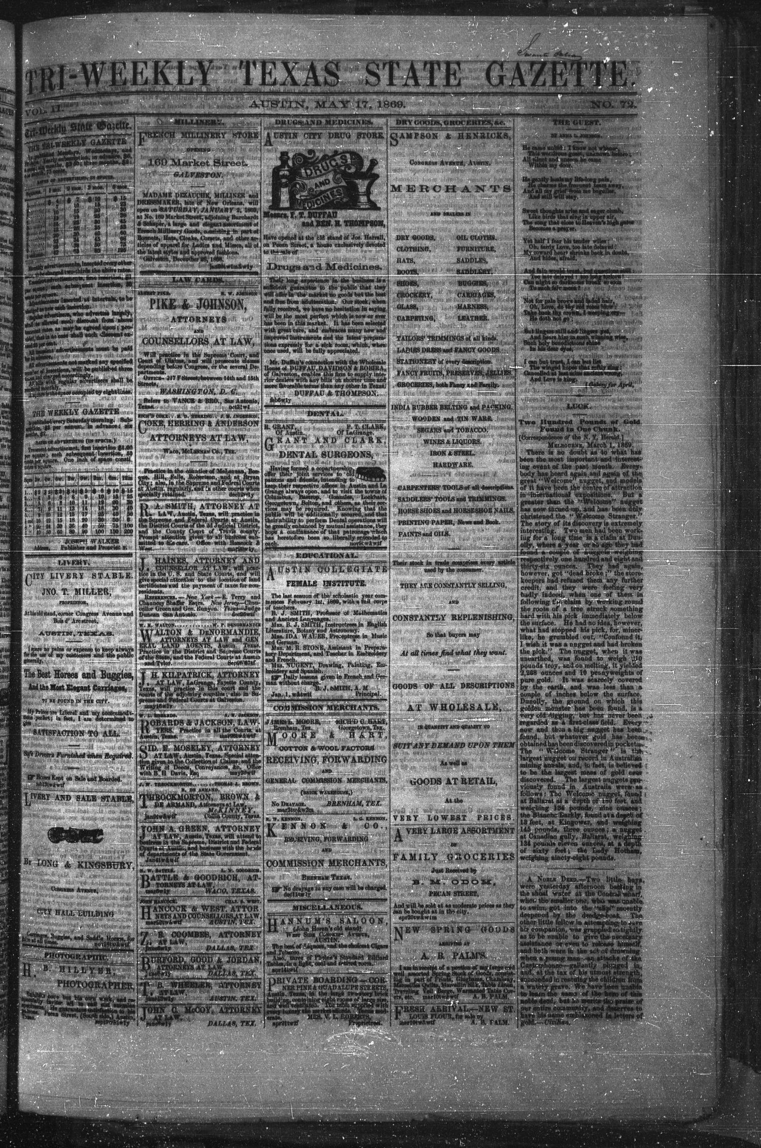 Tri-Weekly Texas State Gazette. (Austin, Tex.), Vol. 2, No. 72, Ed. 1 Monday, May 17, 1869                                                                                                      [Sequence #]: 1 of 4