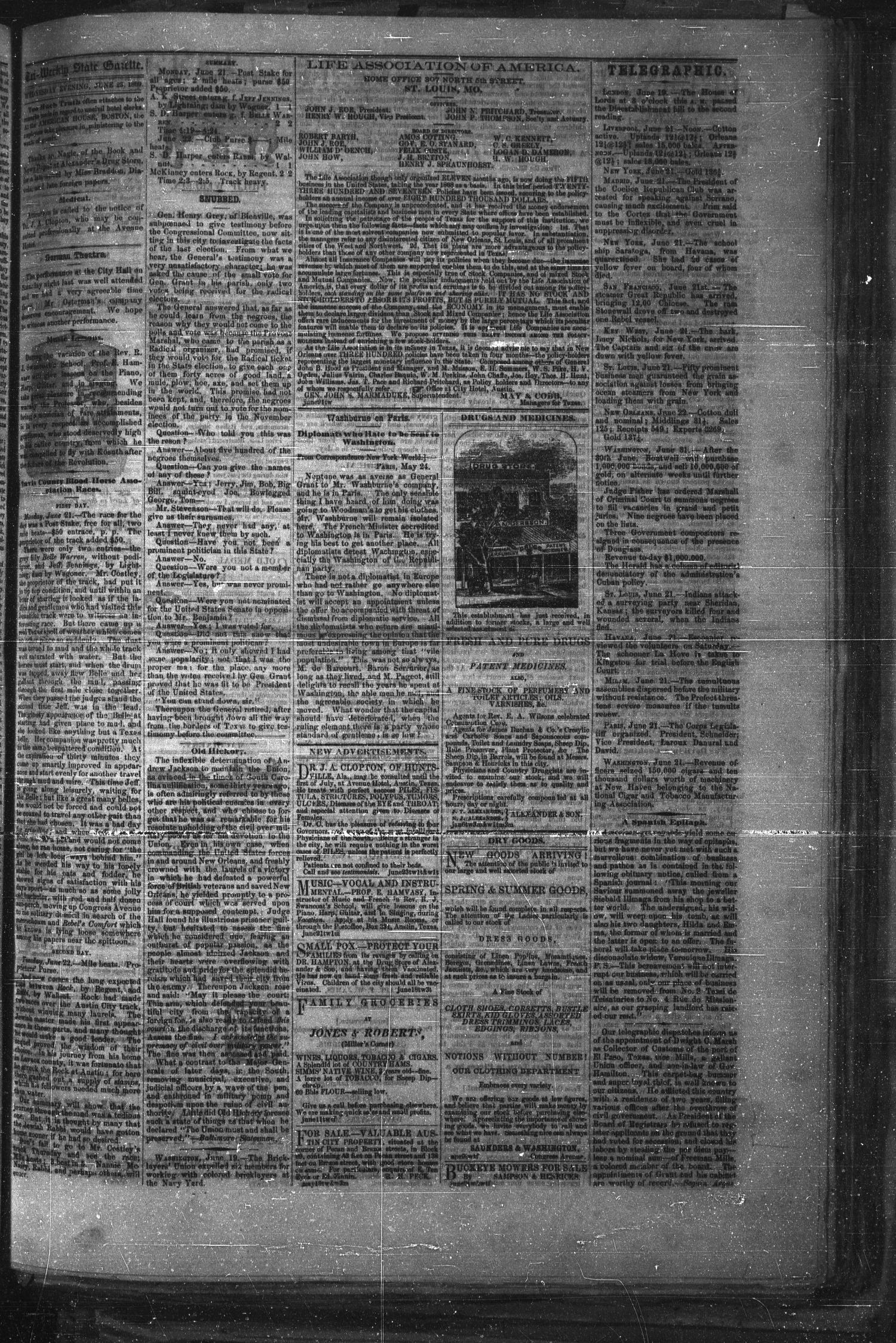Tri-Weekly Texas State Gazette. (Austin, Tex.), Vol. 2, No. 88, Ed. 1 Wednesday, June 23, 1869                                                                                                      [Sequence #]: 3 of 4