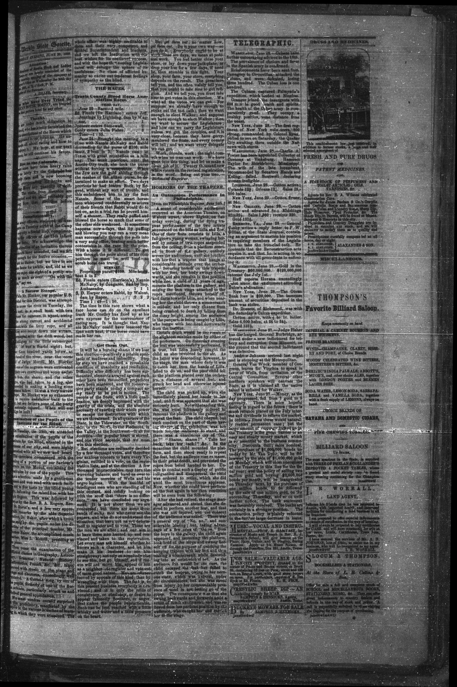Tri-Weekly Texas State Gazette. (Austin, Tex.), Vol. 2, No. 91, Ed. 1 Wednesday, June 30, 1869                                                                                                      [Sequence #]: 3 of 4